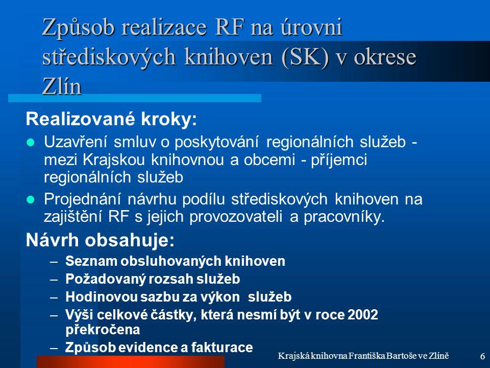 6 Krajská knihovna Františka Bartoše ve Zlíně Způsob realizace RF na úrovni střediskových knihoven (SK) v okrese Zlín Realizované kroky: Uzavření smlu