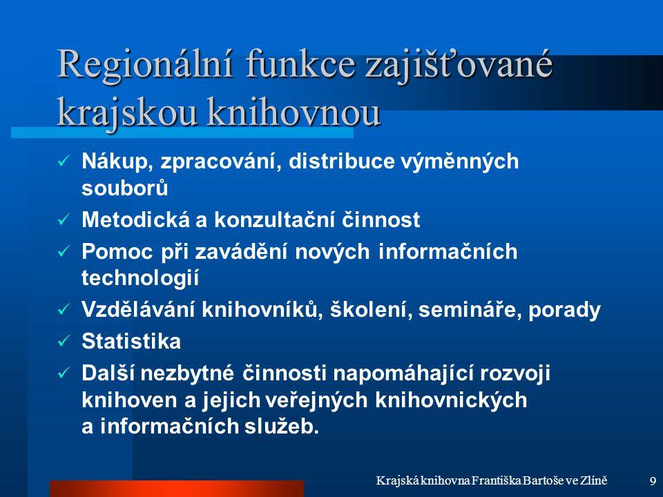 9 Krajská knihovna Františka Bartoše ve Zlíně Regionální funkce zajišťované krajskou knihovnou Nákup, zpracování, distribuce výměnných souborů Metodic