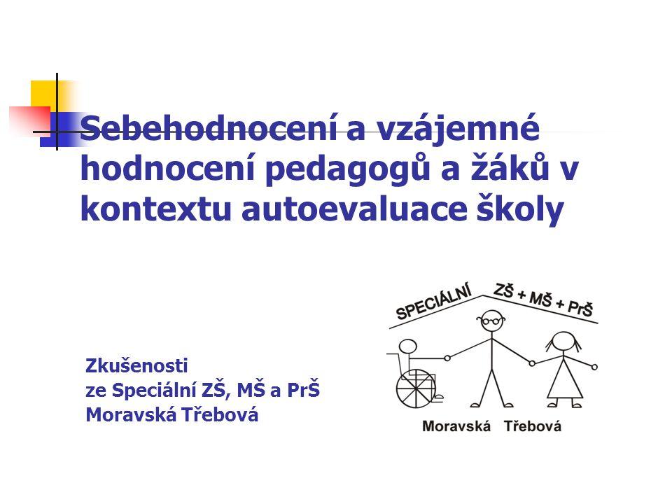 Sebehodnocení a vzájemné hodnocení pedagogů a žáků v kontextu autoevaluace školy Zkušenosti ze Speciální ZŠ, MŠ a PrŠ Moravská Třebová