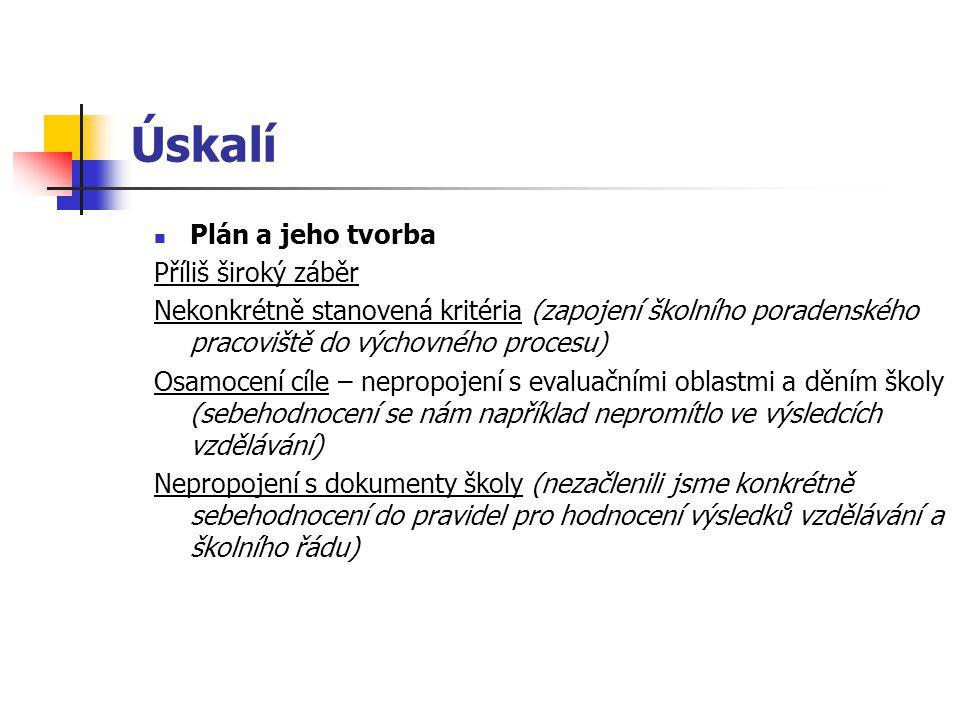 Úskalí Plán a jeho tvorba Příliš široký záběr Nekonkrétně stanovená kritéria (zapojení školního poradenského pracoviště do výchovného procesu) Osamoce