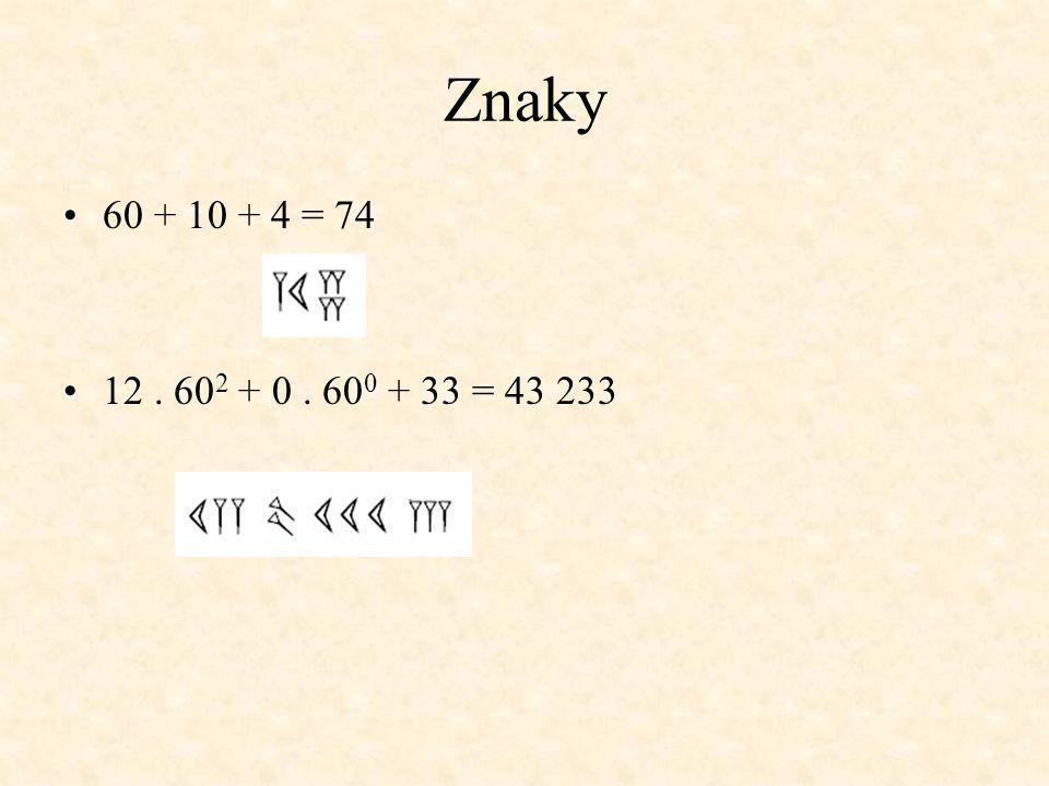 Znaky 60 + 10 + 4 = 74 12. 60 2 + 0. 60 0 + 33 = 43 233