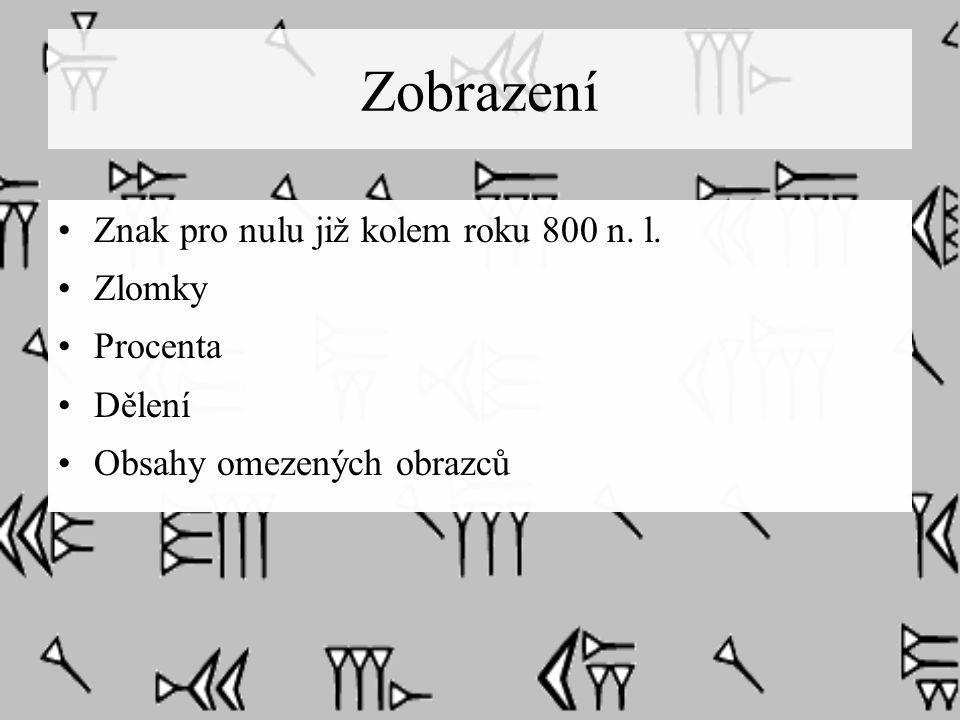 Zobrazení Znak pro nulu již kolem roku 800 n. l. Zlomky Procenta Dělení Obsahy omezených obrazců