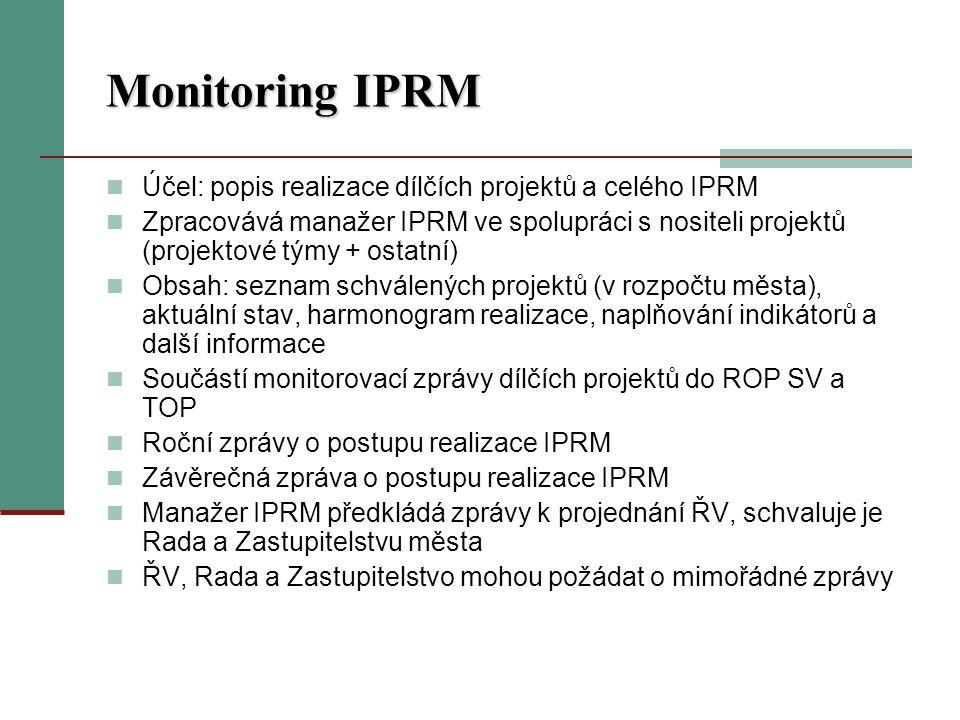 Monitoring IPRM Účel: popis realizace dílčích projektů a celého IPRM Zpracovává manažer IPRM ve spolupráci s nositeli projektů (projektové týmy + ostatní) Obsah: seznam schválených projektů (v rozpočtu města), aktuální stav, harmonogram realizace, naplňování indikátorů a další informace Součástí monitorovací zprávy dílčích projektů do ROP SV a TOP Roční zprávy o postupu realizace IPRM Závěrečná zpráva o postupu realizace IPRM Manažer IPRM předkládá zprávy k projednání ŘV, schvaluje je Rada a Zastupitelstvu města ŘV, Rada a Zastupitelstvo mohou požádat o mimořádné zprávy