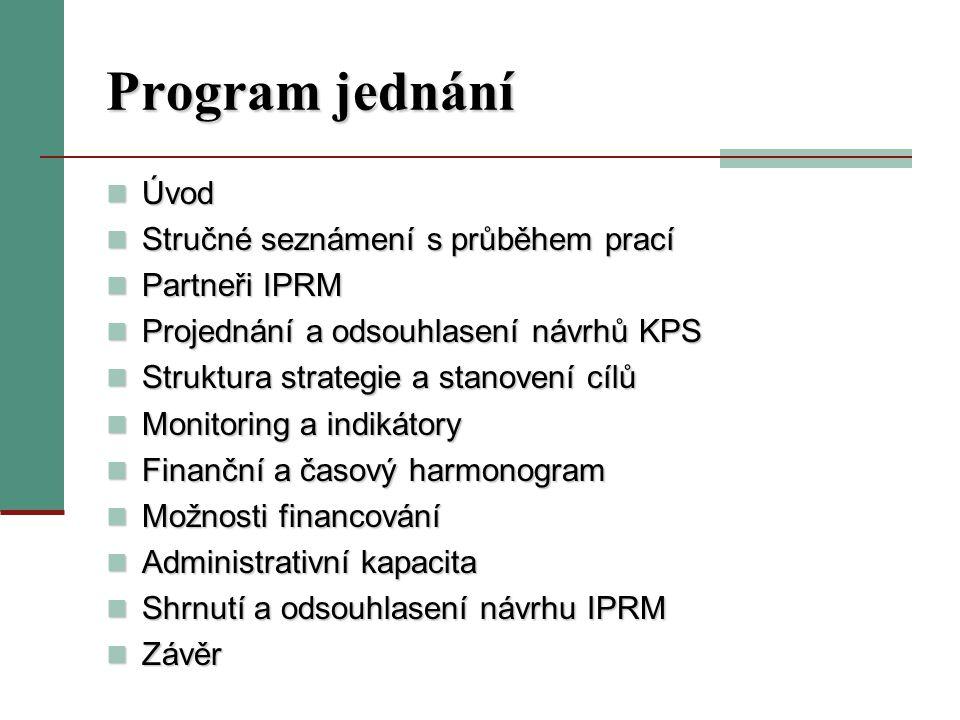 Program jednání Úvod Úvod Stručné seznámení s průběhem prací Stručné seznámení s průběhem prací Partneři IPRM Partneři IPRM Projednání a odsouhlasení návrhů KPS Projednání a odsouhlasení návrhů KPS Struktura strategie a stanovení cílů Struktura strategie a stanovení cílů Monitoring a indikátory Monitoring a indikátory Finanční a časový harmonogram Finanční a časový harmonogram Možnosti financování Možnosti financování Administrativní kapacita Administrativní kapacita Shrnutí a odsouhlasení návrhu IPRM Shrnutí a odsouhlasení návrhu IPRM Závěr Závěr
