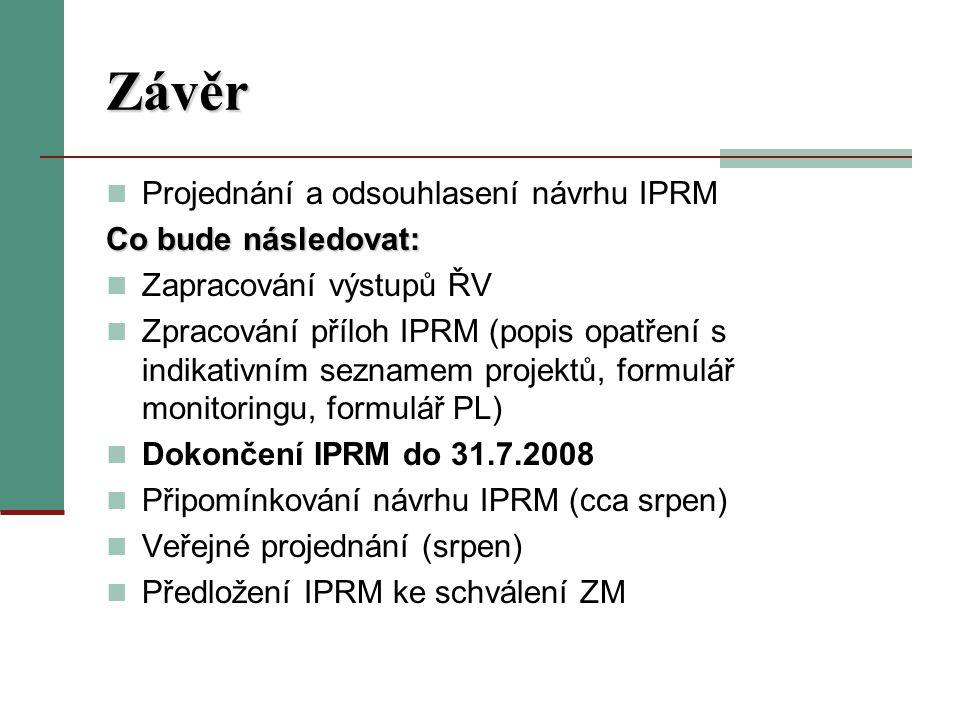 Závěr Projednání a odsouhlasení návrhu IPRM Co bude následovat: Zapracování výstupů ŘV Zpracování příloh IPRM (popis opatření s indikativním seznamem projektů, formulář monitoringu, formulář PL) Dokončení IPRM do 31.7.2008 Připomínkování návrhu IPRM (cca srpen) Veřejné projednání (srpen) Předložení IPRM ke schválení ZM