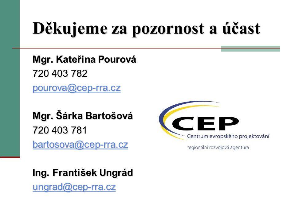 Děkujeme za pozornost a účast Mgr. Kateřina Pourová 720 403 782 pourova@cep-rra.cz Mgr.