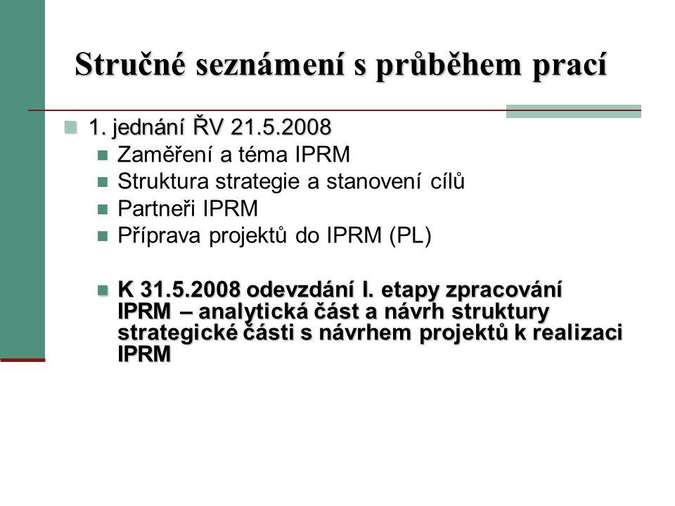 Stručné seznámení s průběhem prací 1. jednání ŘV 21.5.2008 1.