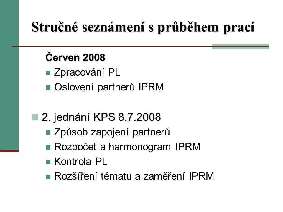 Stručné seznámení s průběhem prací Červen 2008 Zpracování PL Oslovení partnerů IPRM 2.