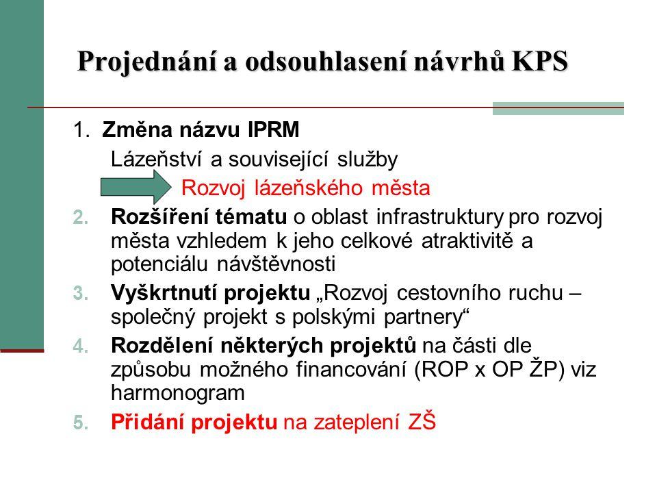 Projednání a odsouhlasení návrhů KPS 1.