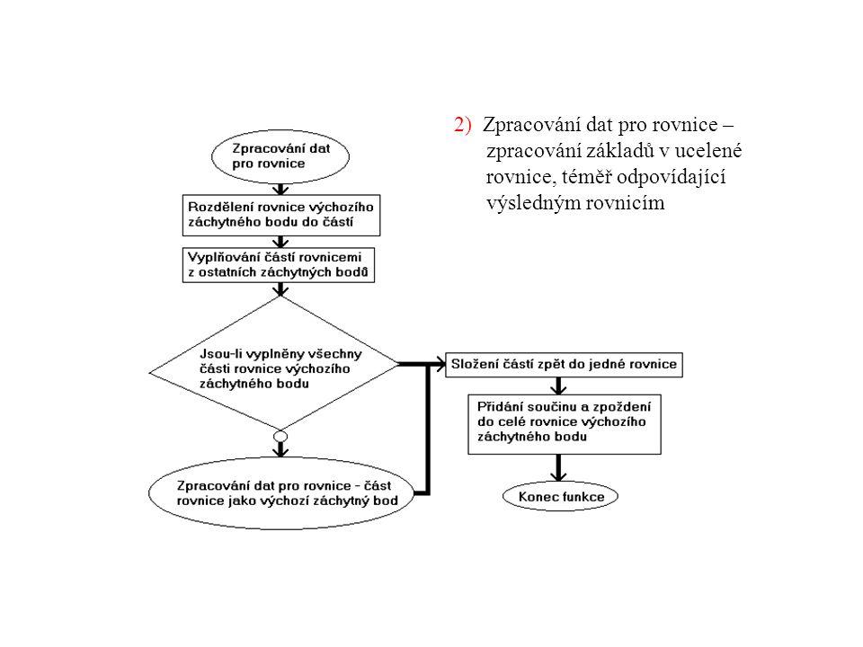 2) Zpracování dat pro rovnice – zpracování základů v ucelené rovnice, téměř odpovídající výsledným rovnicím