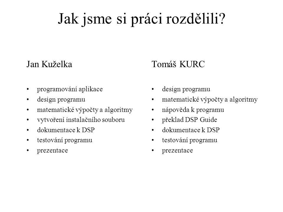 Jak jsme si práci rozdělili? Jan Kuželka programování aplikace design programu matematické výpočty a algoritmy vytvoření instalačního souboru dokument