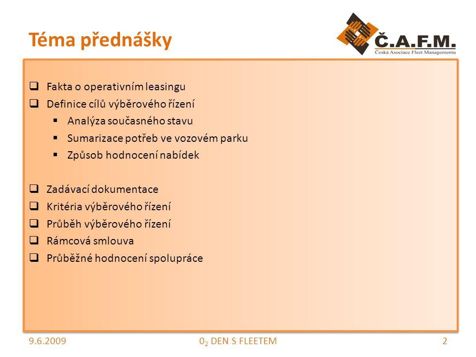 Téma přednášky  Fakta o operativním leasingu  Definice cílů výběrového řízení  Analýza současného stavu  Sumarizace potřeb ve vozovém parku  Způsob hodnocení nabídek  Zadávací dokumentace  Kritéria výběrového řízení  Průběh výběrového řízení  Rámcová smlouva  Průběžné hodnocení spolupráce  Fakta o operativním leasingu  Definice cílů výběrového řízení  Analýza současného stavu  Sumarizace potřeb ve vozovém parku  Způsob hodnocení nabídek  Zadávací dokumentace  Kritéria výběrového řízení  Průběh výběrového řízení  Rámcová smlouva  Průběžné hodnocení spolupráce 9.6.200920 2 DEN S FLEETEM