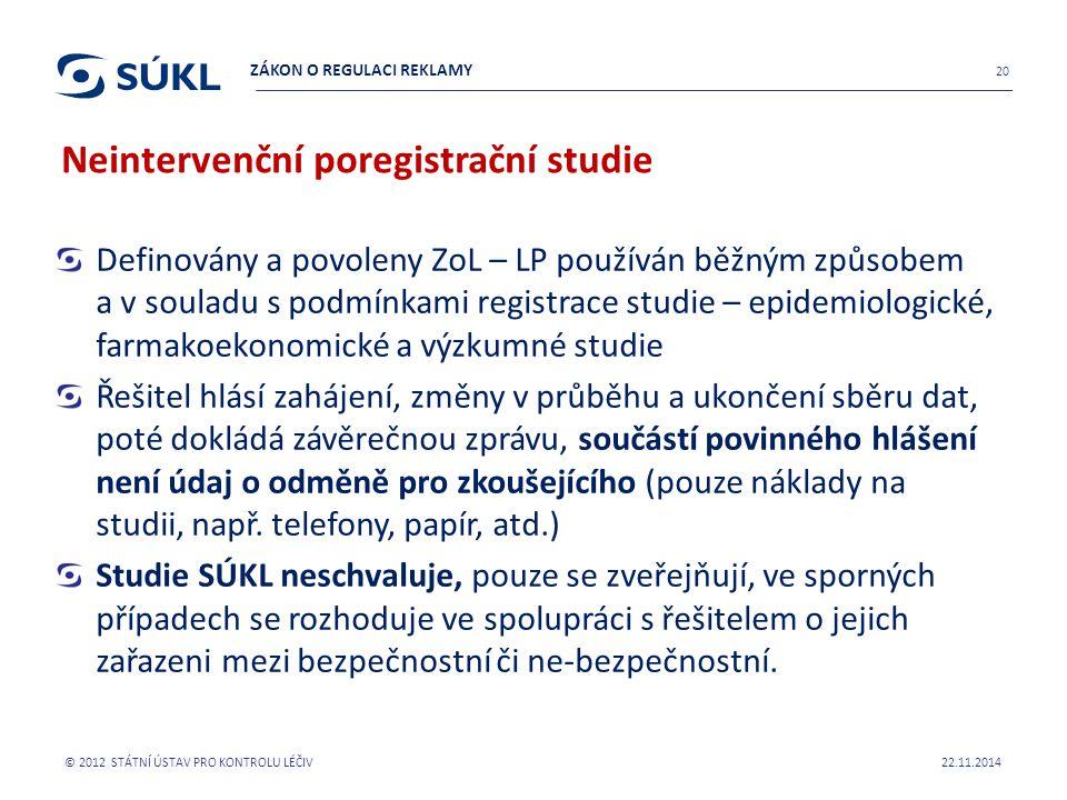 Možná spolupráce SÚKL a ČLK 22.11.2014 © 2012 STÁTNÍ ÚSTAV PRO KONTROLU LÉČIV 21 SPOLUPRÁCE SÚKL A ČLK