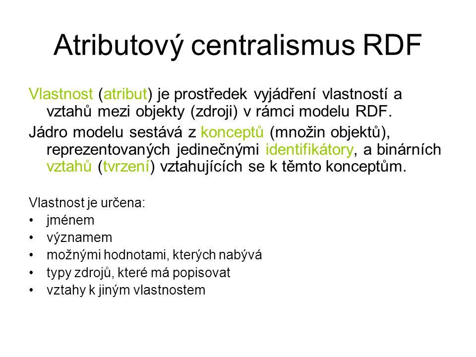 Atributový centralismus RDF Vlastnost (atribut) je prostředek vyjádření vlastností a vztahů mezi objekty (zdroji) v rámci modelu RDF.
