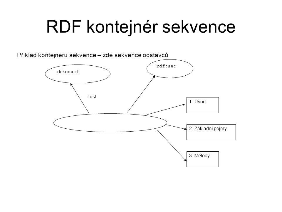 RDF kontejnér sekvence Příklad kontejnéru sekvence – zde sekvence odstavců dokument část rdf:seq 1.