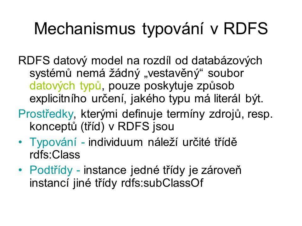 """Mechanismus typování v RDFS RDFS datový model na rozdíl od databázových systémů nemá žádný """"vestavěný soubor datových typů, pouze poskytuje způsob explicitního určení, jakého typu má literál být."""