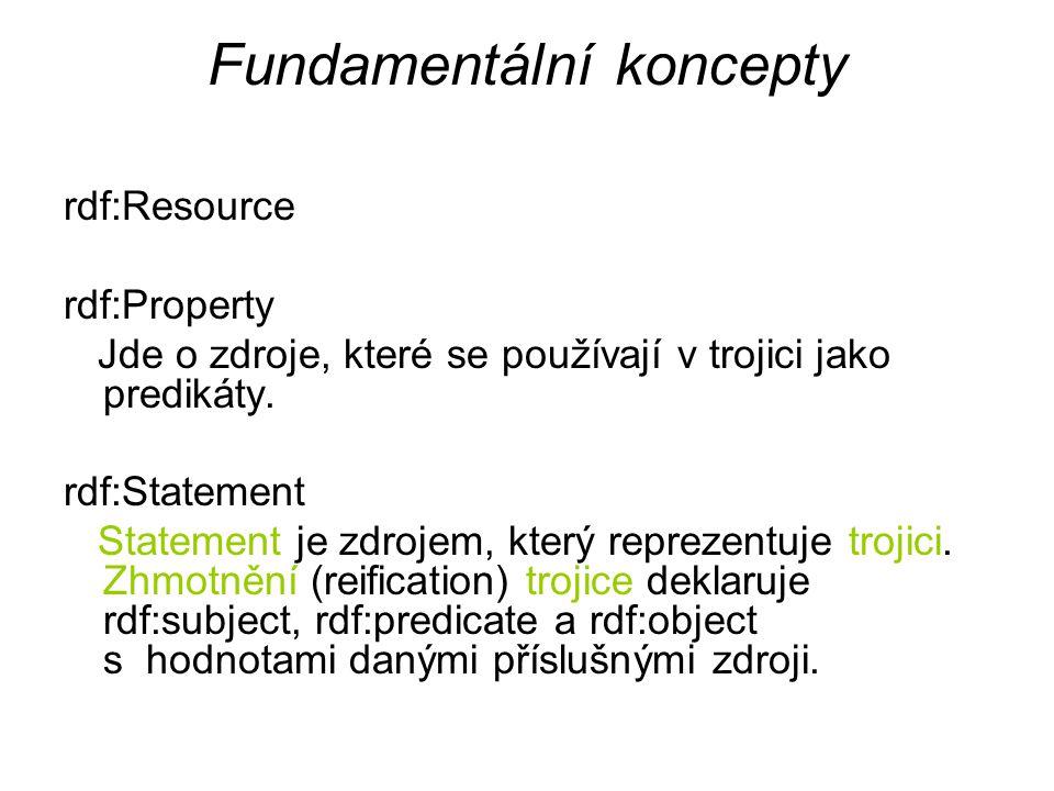 Fundamentální koncepty rdf:Resource rdf:Property Jde o zdroje, které se používají v trojici jako predikáty.