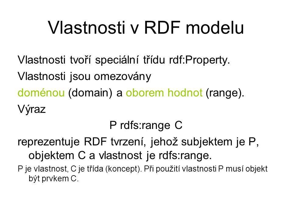 Vlastnosti v RDF modelu Vlastnosti tvoří speciální třídu rdf:Property.