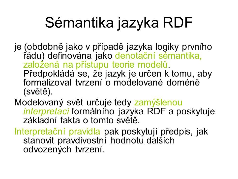 Sémantika jazyka RDF je (obdobně jako v případě jazyka logiky prvního řádu) definována jako denotační sémantika, založená na přístupu teorie modelů.
