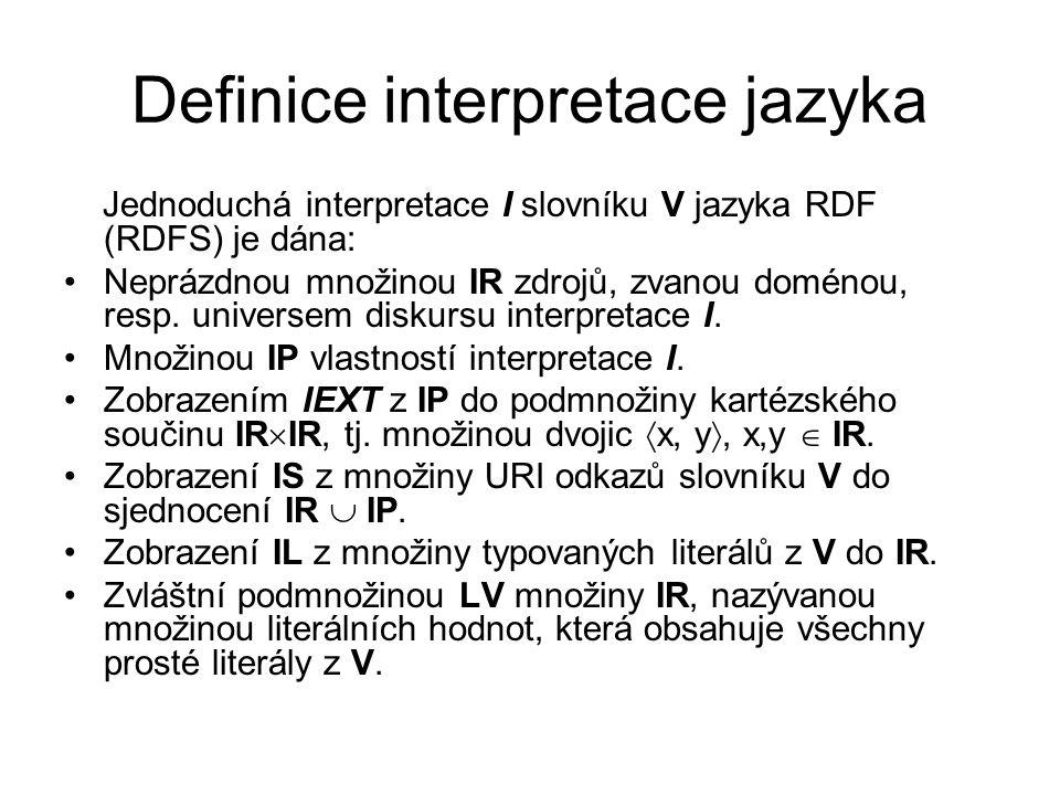 Definice interpretace jazyka Jednoduchá interpretace I slovníku V jazyka RDF (RDFS) je dána: Neprázdnou množinou IR zdrojů, zvanou doménou, resp.