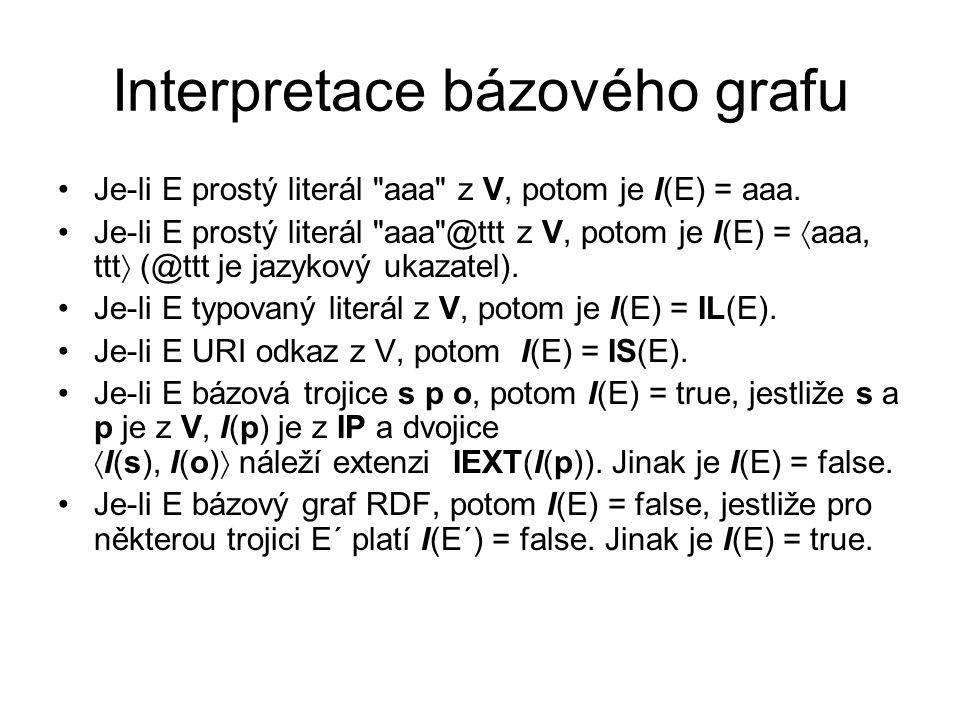 Interpretace bázového grafu Je-li E prostý literál aaa z V, potom je I(E) = aaa.