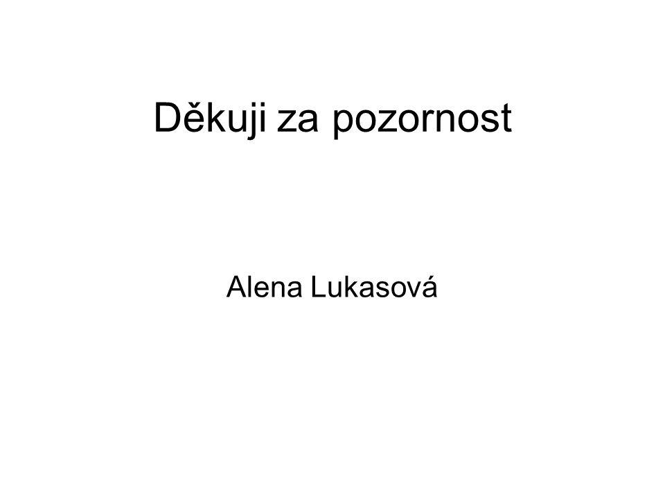 Děkuji za pozornost Alena Lukasová