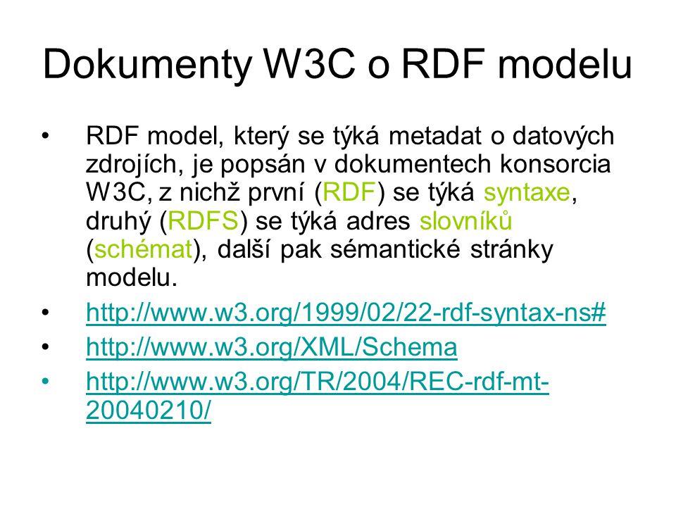 Dokumenty W3C o RDF modelu RDF model, který se týká metadat o datových zdrojích, je popsán v dokumentech konsorcia W3C, z nichž první (RDF) se týká syntaxe, druhý (RDFS) se týká adres slovníků (schémat), další pak sémantické stránky modelu.