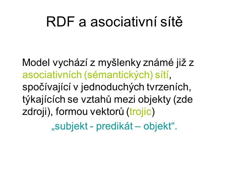 """RDF a asociativní sítě Model vychází z myšlenky známé již z asociativních (sémantických) sítí, spočívající v jednoduchých tvrzeních, týkajících se vztahů mezi objekty (zde zdroji), formou vektorů (trojic) """"subjekt - predikát – objekt ."""