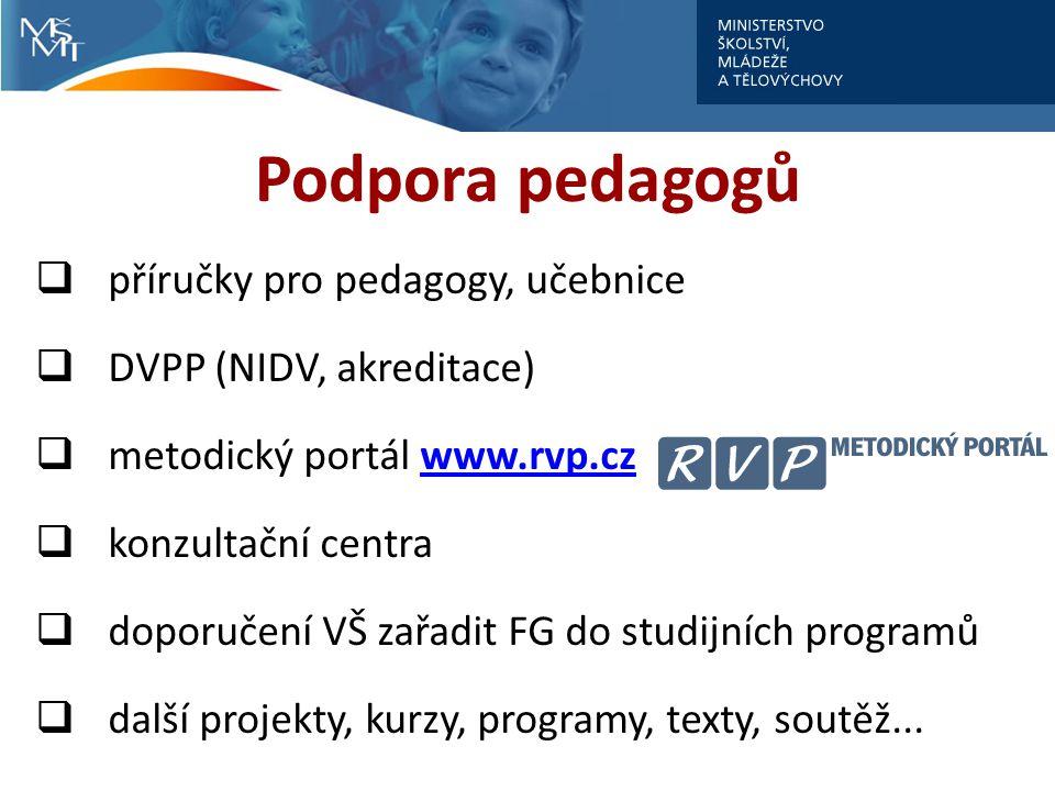Podpora pedagogů  příručky pro pedagogy, učebnice  DVPP (NIDV, akreditace)  metodický portál www.rvp.czwww.rvp.cz  konzultační centra  doporučení