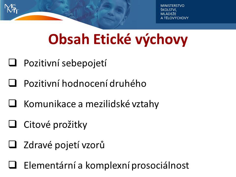 Obsah Etické výchovy  Pozitivní sebepojetí  Pozitivní hodnocení druhého  Komunikace a mezilidské vztahy  Citové prožitky  Zdravé pojetí vzorů  E