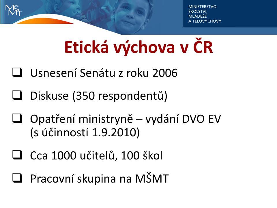 Etická výchova v ČR  Usnesení Senátu z roku 2006  Diskuse (350 respondentů)  Opatření ministryně – vydání DVO EV (s účinností 1.9.2010)  Cca 1000