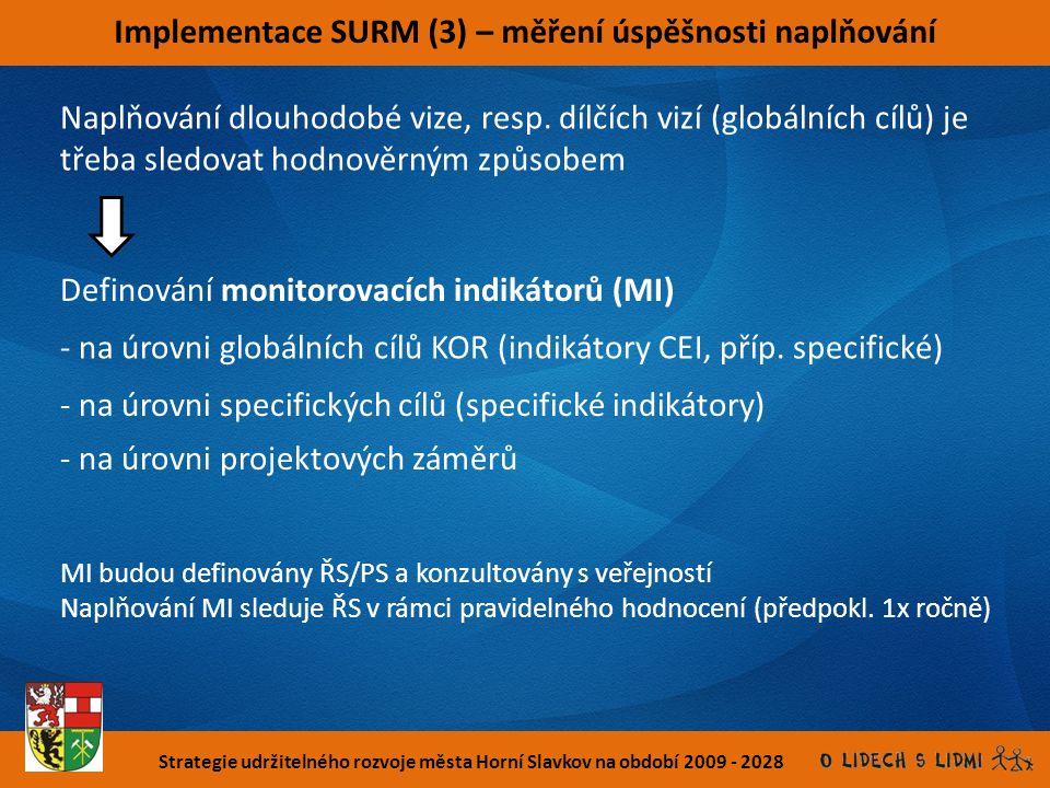 Strategie udržitelného rozvoje města Horní Slavkov na období 2009 - 2028 Implementace SURM (3) – měření úspěšnosti naplňování Naplňování dlouhodobé vi