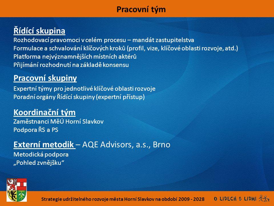 Strategie udržitelného rozvoje města Horní Slavkov na období 2009 - 2028 Pracovní tým Řídící skupina Pracovní skupiny Koordinační tým Externí metodik