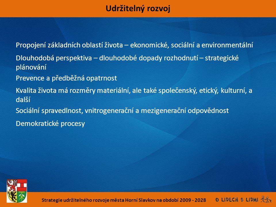 Strategie udržitelného rozvoje města Horní Slavkov na období 2009 - 2028 Udržitelný rozvoj Propojení základních oblastí života – ekonomické, sociální