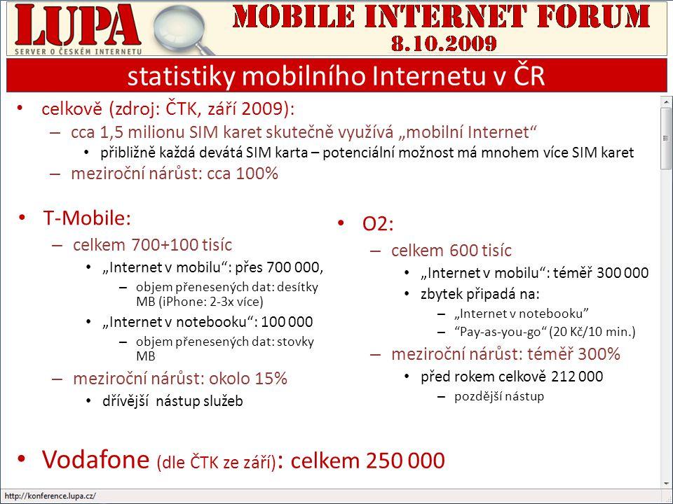 """statistiky mobilního Internetu v ČR T-Mobile: – celkem 700+100 tisíc """"Internet v mobilu : přes 700 000, – objem přenesených dat: desítky MB (iPhone: 2-3x více) """"Internet v notebooku : 100 000 – objem přenesených dat: stovky MB – meziroční nárůst: okolo 15% dřívější nástup služeb O2: – celkem 600 tisíc """"Internet v mobilu : téměř 300 000 zbytek připadá na: – """"Internet v notebooku – Pay-as-you-go (20 Kč/10 min.) – meziroční nárůst: téměř 300% před rokem celkově 212 000 – pozdější nástup celkově (zdroj: ČTK, září 2009): – cca 1,5 milionu SIM karet skutečně využívá """"mobilní Internet přibližně každá devátá SIM karta – potenciální možnost má mnohem více SIM karet – meziroční nárůst: cca 100% Vodafone (dle ČTK ze září) : celkem 250 000"""