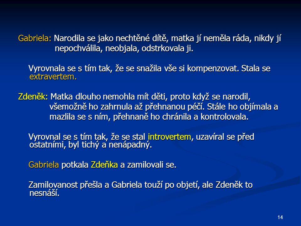 14 Gabriela: Narodila se jako nechtěné dítě, matka jí neměla ráda, nikdy jí nepochválila, neobjala, odstrkovala ji.