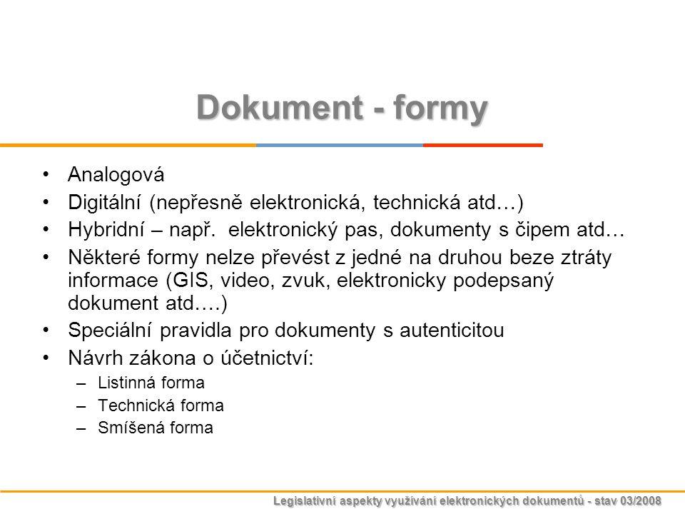 Legislativní aspekty využívání elektronických dokumentů - stav 03/2008 Dokument - formy Analogová Digitální (nepřesně elektronická, technická atd…) Hy