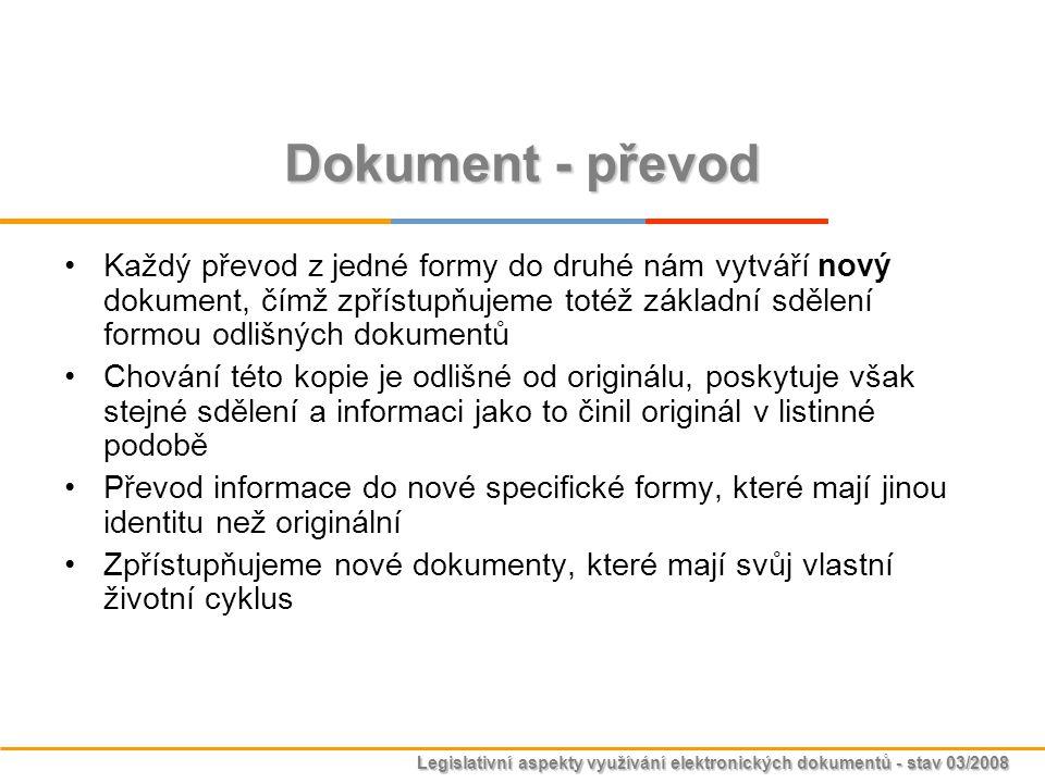 Legislativní aspekty využívání elektronických dokumentů - stav 03/2008 Dokument - převod Každý převod z jedné formy do druhé nám vytváří nový dokument