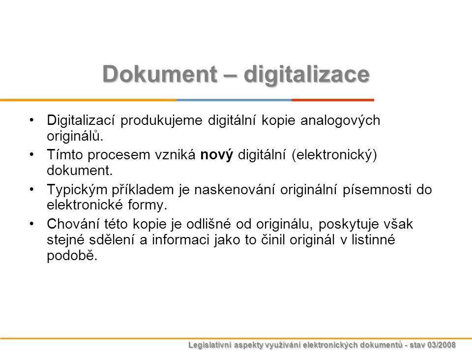 Legislativní aspekty využívání elektronických dokumentů - stav 03/2008 Dokument – digitalizace Digitalizací produkujeme digitální kopie analogových or