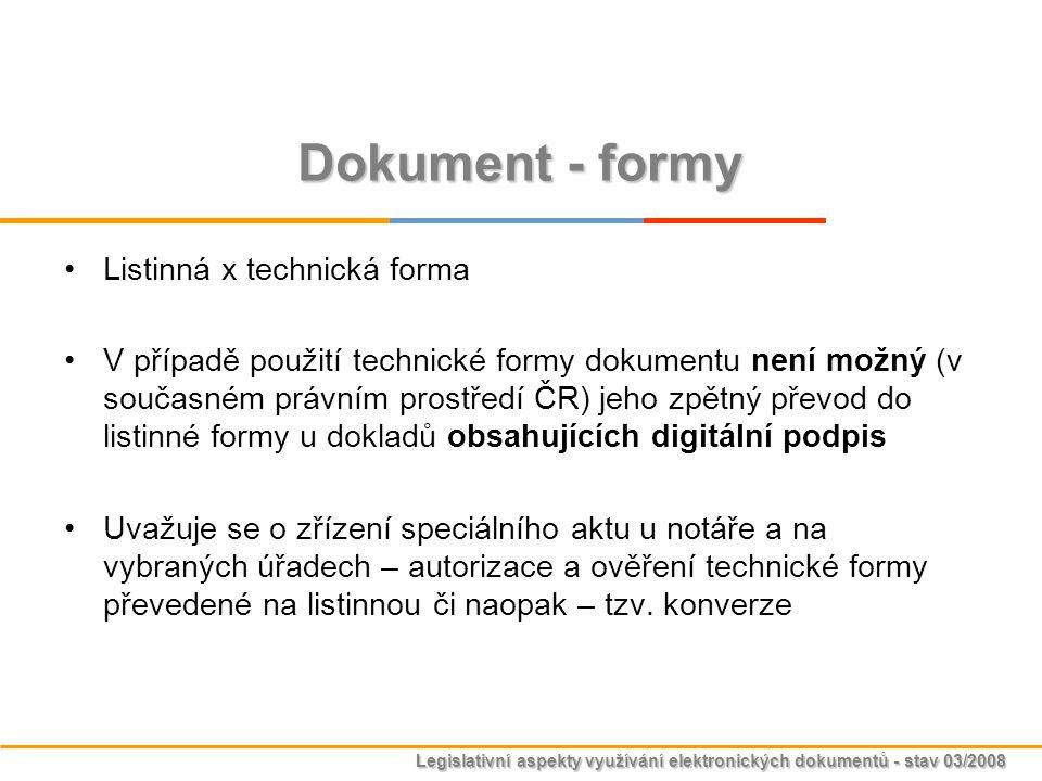Legislativní aspekty využívání elektronických dokumentů - stav 03/2008 Dokument - formy Listinná x technická forma V případě použití technické formy d