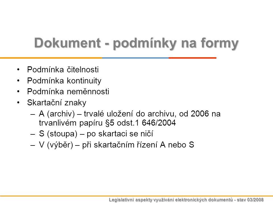 Legislativní aspekty využívání elektronických dokumentů - stav 03/2008 Dokument - podmínky na formy Podmínka čitelnosti Podmínka kontinuity Podmínka n