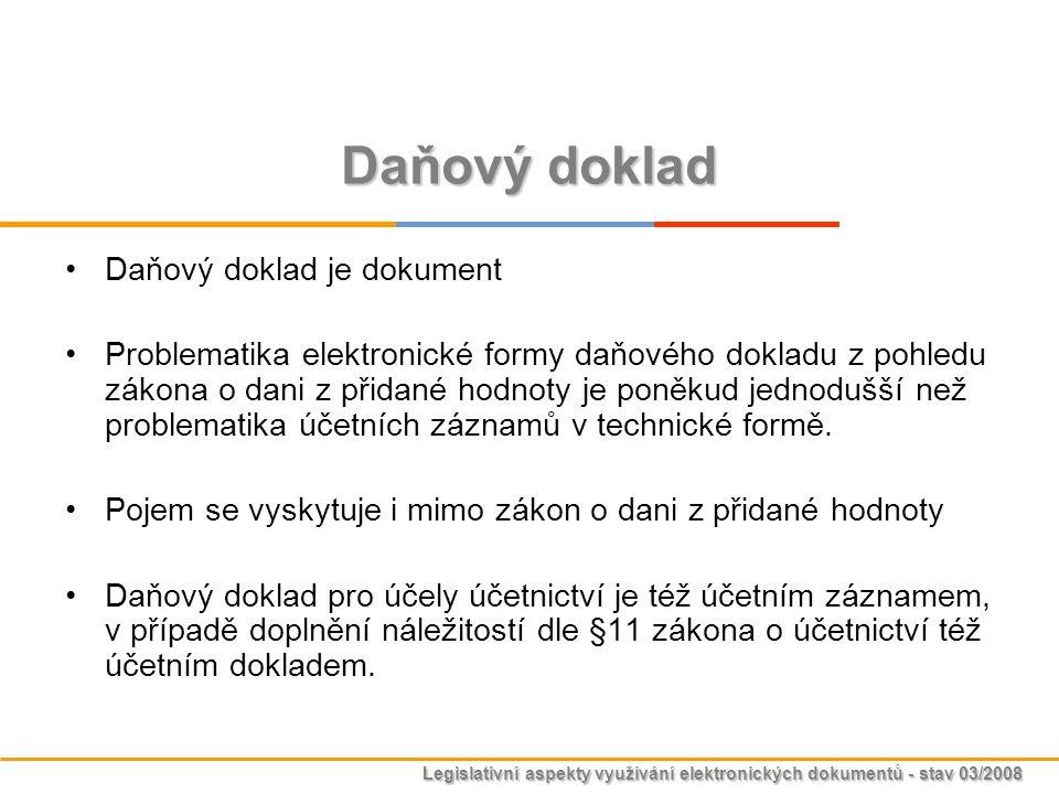 Legislativní aspekty využívání elektronických dokumentů - stav 03/2008 Daňový doklad Daňový doklad je dokument Problematika elektronické formy daňovéh