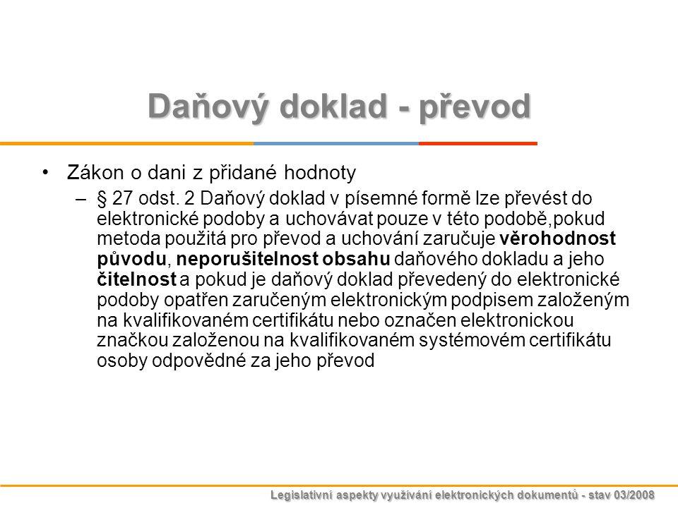 Legislativní aspekty využívání elektronických dokumentů - stav 03/2008 Daňový doklad - převod Zákon o dani z přidané hodnoty –§ 27 odst. 2 Daňový dokl