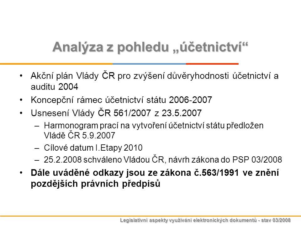 """Legislativní aspekty využívání elektronických dokumentů - stav 03/2008 Analýza z pohledu """"účetnictví"""" Akční plán Vlády ČR pro zvýšení důvěryhodnosti ú"""