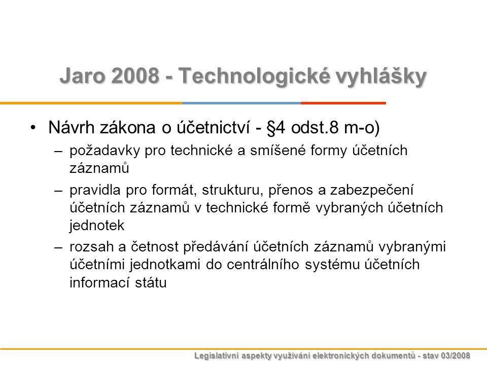 Legislativní aspekty využívání elektronických dokumentů - stav 03/2008 Jaro 2008 - Technologické vyhlášky Návrh zákona o účetnictví - §4 odst.8 m-o) –