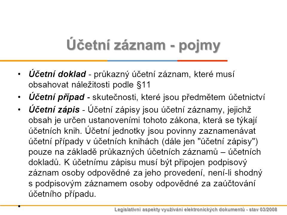 Legislativní aspekty využívání elektronických dokumentů - stav 03/2008 Účetní záznam - pojmy Účetní doklad - průkazný účetní záznam, které musí obsaho