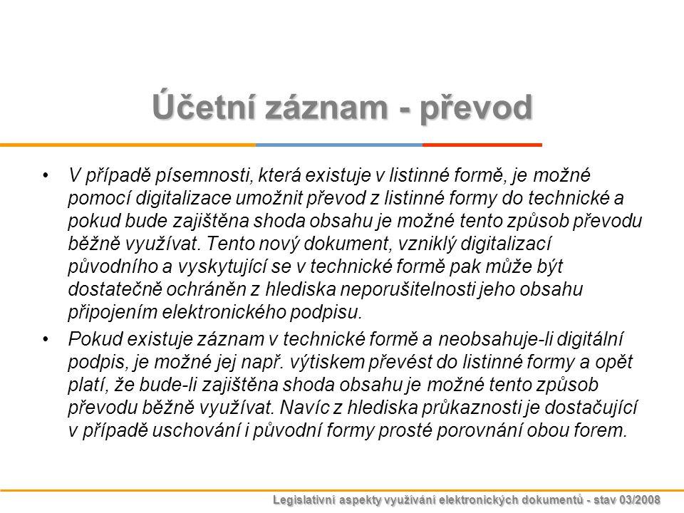 Legislativní aspekty využívání elektronických dokumentů - stav 03/2008 Účetní záznam - převod V případě písemnosti, která existuje v listinné formě, j