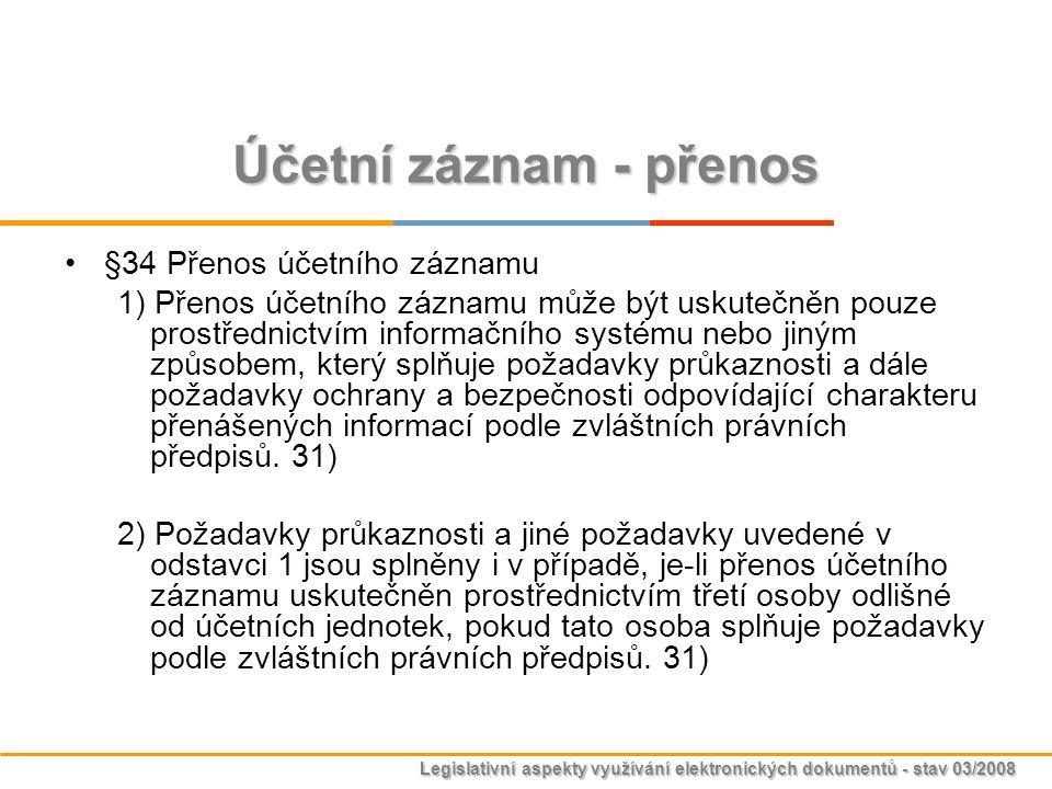 Legislativní aspekty využívání elektronických dokumentů - stav 03/2008 Účetní záznam - přenos §34 Přenos účetního záznamu 1) Přenos účetního záznamu m