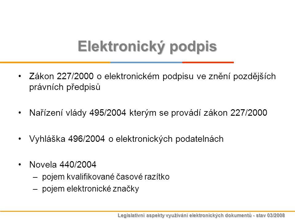 Legislativní aspekty využívání elektronických dokumentů - stav 03/2008 Elektronický podpis Zákon 227/2000 o elektronickém podpisu ve znění pozdějších