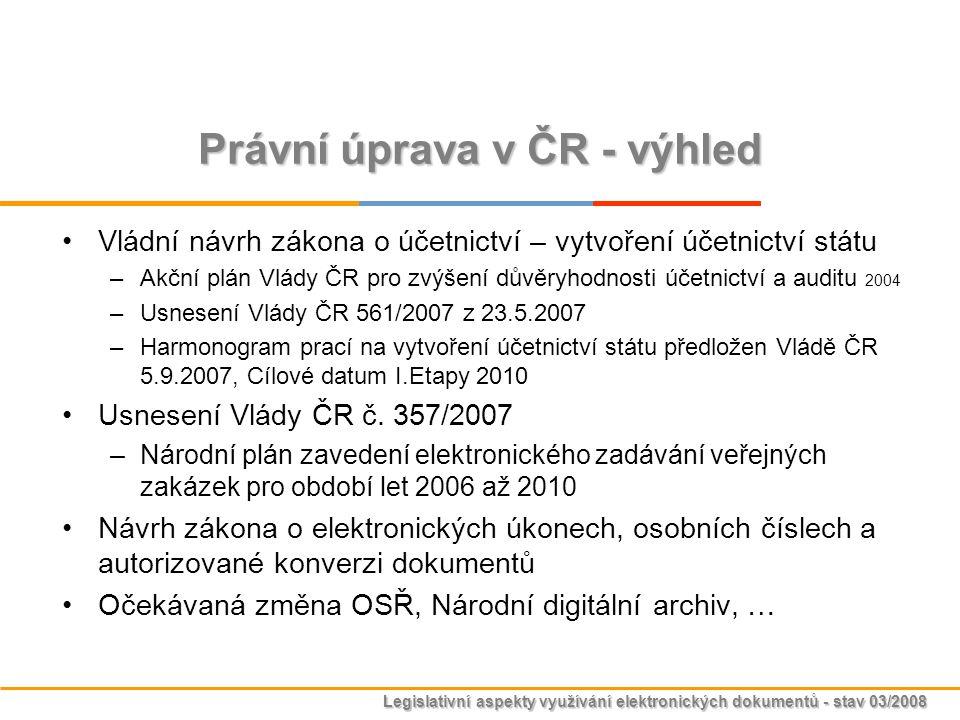 Legislativní aspekty využívání elektronických dokumentů - stav 03/2008 Právní úprava v ČR - výhled Vládní návrh zákona o účetnictví – vytvoření účetni